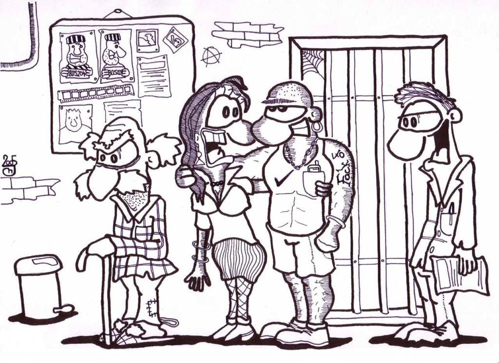 K ramenu vyholeného Róma potetovanému pravopisnou chybou se vinula jeho neméně snědá přítelkyně a čekání ve frontě u okénka na policejní stanici si každou chvíli krátili vyměňováním ústních sekretů.